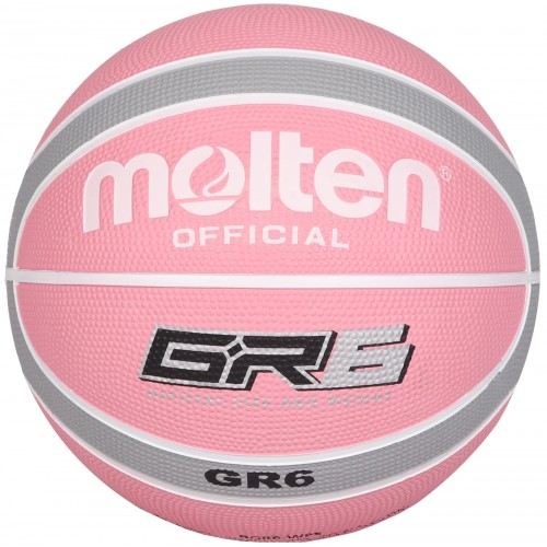 BGR Rubber Basketball - Colour Pink/Grey - Ball Size Option Size 6